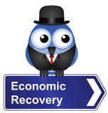 Economic recovery. Sign isolated on white background Stock Images
