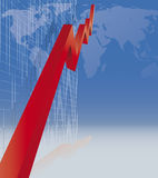 Economic recovery. Worldwide economic recovery with stock market chart Royalty Free Stock Photo