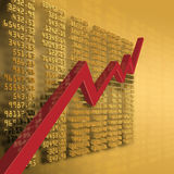 Economic recovery. Stock prices and a curve shows economic recovery Stock Photos