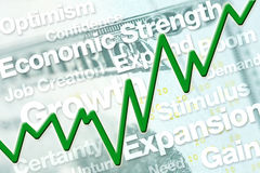 Economic Recovery. Graphic with line chart and text Royalty Free Stock Photography