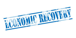 Economic recovery blue stamp Royalty Free Stock Photo