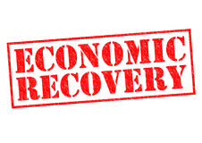 ECONOMIC RECOVERY. Red Rubber Stamp over a white background Stock Image