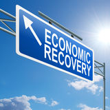 Economic recovery sign. Illustration depicting a highway gantry sign with an economic recovery concept. Blue sky background Royalty Free Stock Image