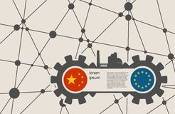 Economic relations between China and Europe. Heavy industry relative image. Molecule And Communication Background. Vector brochure or report design template Royalty Free Stock Photo