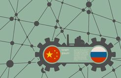 Economic relations between China and Russia. Heavy industry relative image. Molecule And Communication Background. Vector brochure or report design template Royalty Free Stock Photos