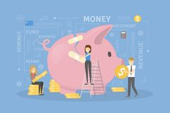 Economic repair concept. Business people trying to recover piggy bank Royalty Free Stock Image