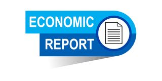 Economic report banner. Commerce concept web banner icon on isolated white background - vector eps illustration Stock Photo