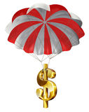 Economic Rescue. Dollar sign parachuting down safely Stock Photos