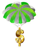 Economic Rescue. Dollar sign parachuting down safely Stock Photography