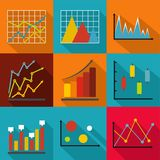 Economic research icons set, flat style. Economic research icons set. flat set of 9 economic research vector icons for web isolated on white background Stock Image