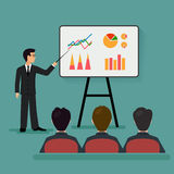 Economic seminar. On the image is presented A group of people in the office. Economic seminar .Speaking to the audience flat style Royalty Free Stock Images