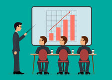 Economic seminar. On the image is presented A group of people in the office. Economic seminar .Speaking to the audience flat style Stock Photo