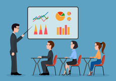 Economic seminar. On the image is presented A group of people in the office. Economic seminar .Speaking to the audience flat style Stock Images