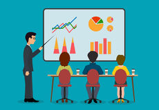 Economic seminar. On the image is presented A group of people in the office. Economic seminar .Speaking to the audience flat style Royalty Free Stock Photos