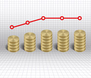 Economic stagnation graph gold coins Stock Photos