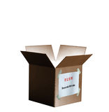 Economic Stimulus Package Box Isolated. Cardboard box open on top with light emanating from inside.  Label taped to side: RUSH! Economic Stimulus. Isolated Royalty Free Stock Photo