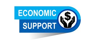 Economic support banner. Icon on isolated white background - vector illustration Stock Photography