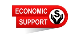 Economic support banner. Icon on isolated white background - vector illustration Royalty Free Stock Photos