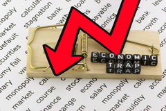 Economic trap and fall. Of the economy Stock Image