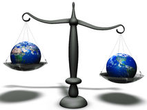 Economical balance difference. Economical weight difference between different continents Royalty Free Stock Photo