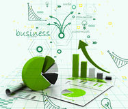 Economical chart and graph Royalty Free Stock Images