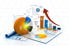 Economical chart and graph Royalty Free Stock Image