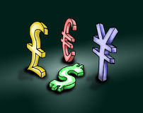 Economical crisis. Distress of  dollar ascension of  pound euro and yen - illustration Stock Images