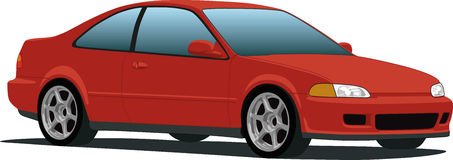 Economical Honda Civic Sedan. A vector illustration of a red Honda Civic sedan isolated on white. See my portfolio for more automotive images royalty free illustration