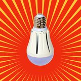 LED illuminated lightbulb. Save energy lamp with E27 socket Royalty Free Stock Photography