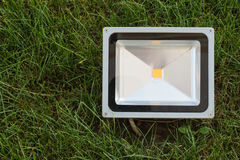 Economical LED projector mounted in the green grass. LED spotlight installed in the lawn. Royalty Free Stock Photo