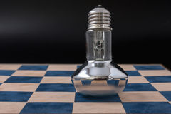 Economical light bulb on a black background. Royalty Free Stock Photos