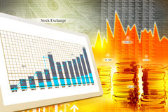 Economical stock market graph. Digital illustration of Economical stock market graph Royalty Free Stock Photography