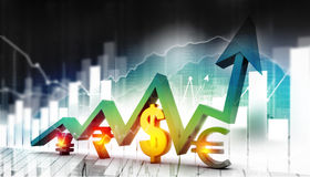 Economical stock market graph. With global currencies Royalty Free Stock Image