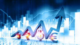 Economical stock market graph. With global currencies Stock Photo