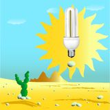 Economical sunny bulb in desert Royalty Free Stock Photo