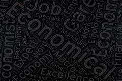Economical ,Word cloud art on blackboard.  Royalty Free Stock Photo