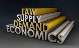 Economics. Law of Supply and Demand Background Stock Photos