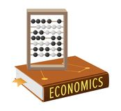 Economics Book and Abacus with Grey Wooden Frame. And movable black-and-white beads isolated vector, accounting and marketing concepts vector illustration