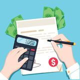 Economics calculations, hands with a calculator and money. Flat. Design  illustration. Bank worker making financial analyse. Investment income with paper report Royalty Free Stock Images