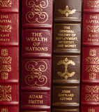 Economics classics. Adam Smith, John Maynard Keynes and Karl Marx volumes of economics classics stock photography