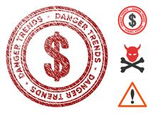 Economics Danger Trends Seal with Grungy Texture. Economics Danger Trends grunge round stamp with warning icon. Vector red seal with distress effect for rubber stock illustration