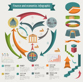 Economics and finance infographic. Investment projects. Banks. E. Lements for creating your own infographic. Vector illustration Royalty Free Stock Images