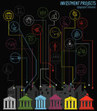 Economics and finance infographic. Investment projects. Banks. E Royalty Free Stock Photos