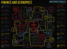 Economics and finance infographic. Investment projects. Banks. E Stock Photography
