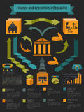 Economics and finance infographic. Investment projects. Banks.. Elements for creating your own infographic. Vector illustration Royalty Free Stock Photos