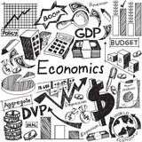 Economics and financial education handwriting doodle icon of ban stock illustration