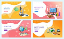 Economics and Geography School Subjects Lessons vector illustration