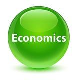 Economics glassy green round button Stock Image