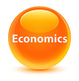 Economics glassy orange round button Stock Photos