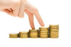 Economics growth concept - profit goes up stock image